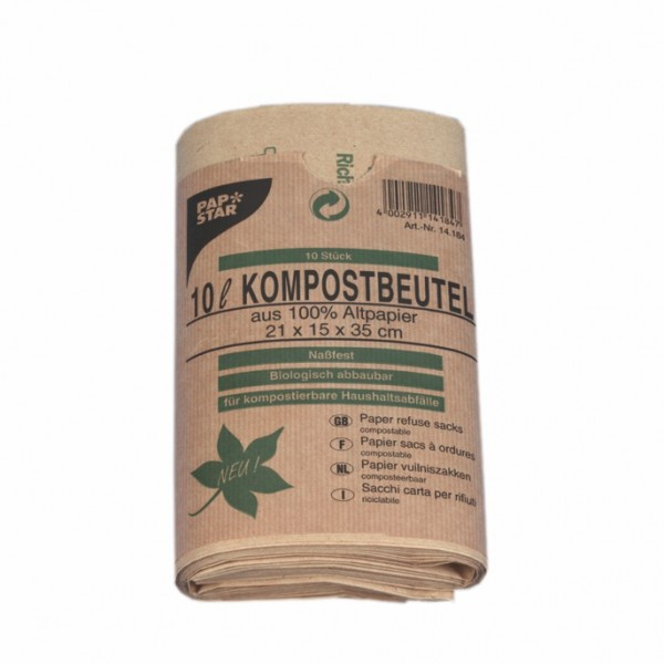 50 Kompostbeutel aus Papier 10 l 35 cm x 21 cm x 15 cm braun