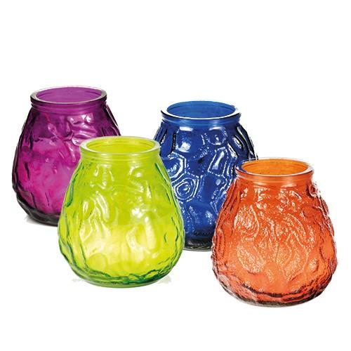 Windlichtglas farbig mit Wachsfüllung Ø 100 mm · 105 mm farbig sortiert