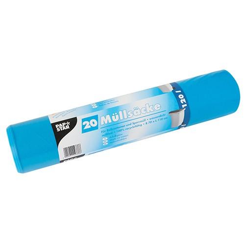 20 Müllsäcke, LDPE 120 l 110 cm x 70 cm blau