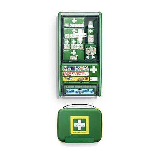"""""""Cederroth"""" First Aid & Burn Station Set DIN 13157 22,7 cm x 29,4 cm x 57,2 cm grün"""