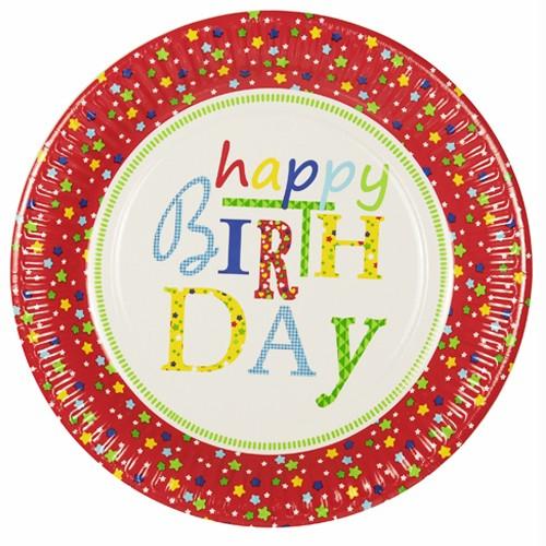 """10 Teller, Pappe rund Ø 23 cm """"Happy Birthday"""""""