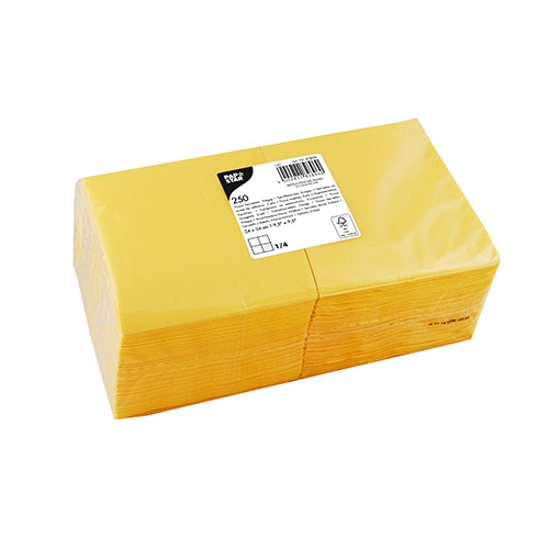 250 Servietten, 3-lagig 1/4-Falz 24 cm x 24 cm gelb