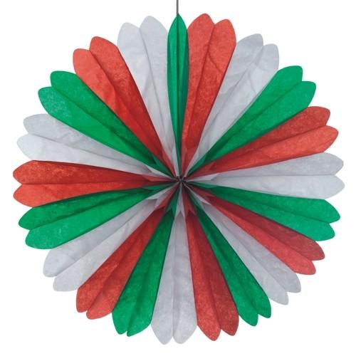 Dekofächer Ø 60 cm grün/weiss/rot schwer entflammbar