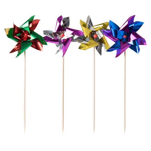 "100 Deko-Picker 17,5 cm farbig sortiert ""Windmühle"""