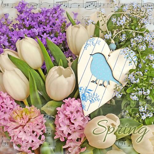"""20 Servietten, 3-lagig 1/4-Falz 33 cm x 33 cm """"Lovely Spring"""""""