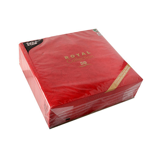 "50 Servietten ""ROYAL Collection"" 1/4-Falz 48 cm x 48 cm rot ""Ornaments"""