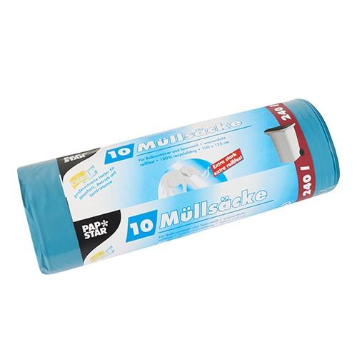 10 Müllsäcke, LDPE 240 l 125 cm x 100 cm blau extra stark und extra reißfest