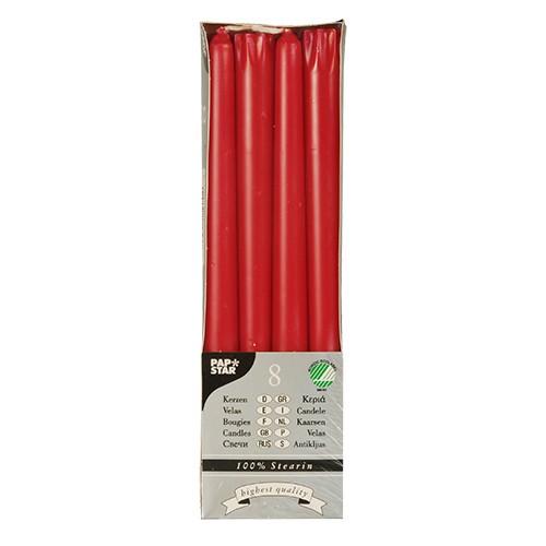 8 Leuchterkerzen Ø 2,2 cm · 25 cm rot aus 100 % Stearin