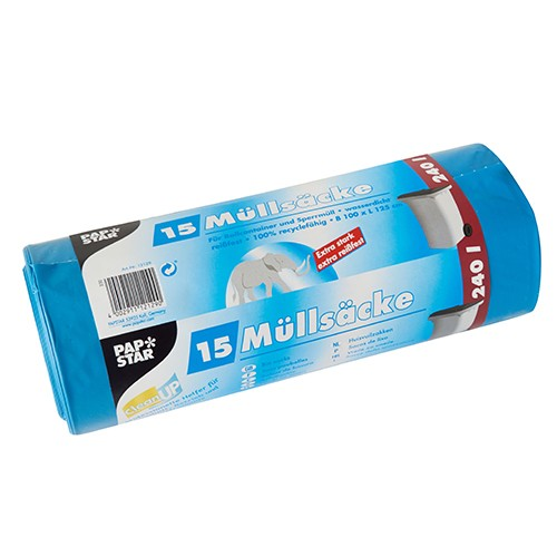15 Müllsäcke, LDPE 240 l 125 cm x 100 cm blau extra stark und extra reißfest