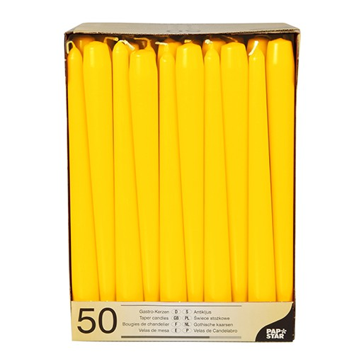50 Leuchterkerzen Ø 2,2 cm · 25 cm gelb