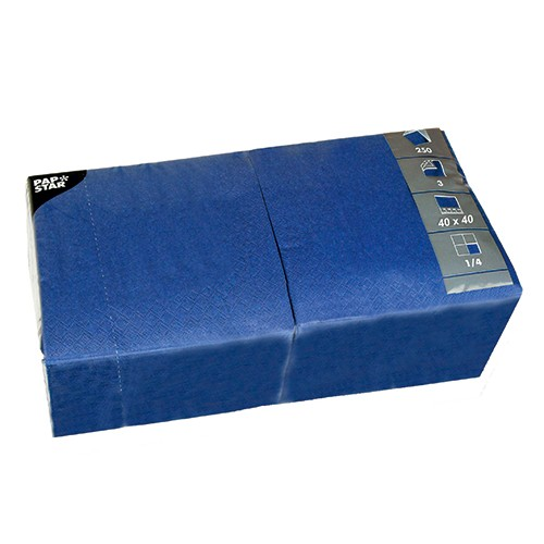 250 Servietten, 3-lagig 1/4-Falz 40 cm x 40 cm dunkelblau