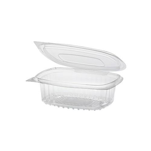 50 Feinkost- und Salatschalen mit Klappdeckel, R-PET oval 250 ml 4,3 cm x 10,6 cm x 13,3 cm klar