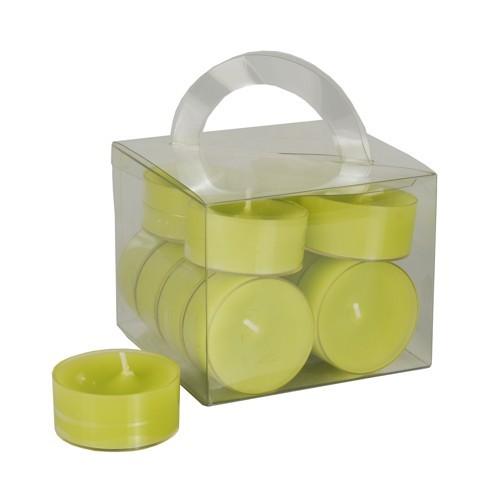 12 Teelichte Ø 38 mm · 18 mm kiwi in Polycarbonathülle, durchgefärbt