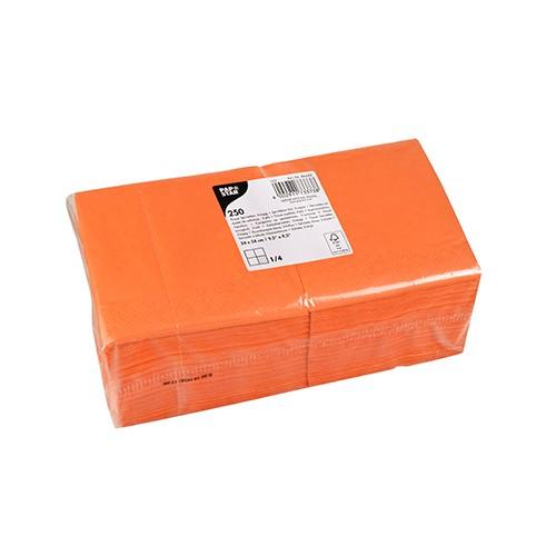 250 Servietten, 3-lagig 1/4-Falz 24 cm x 24 cm nektarine