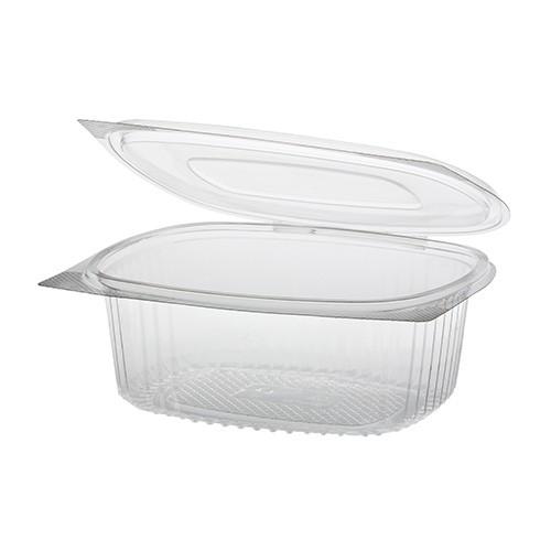50 Feinkost- und Salatschalen mit Klappdeckel, R-PET oval 750 ml 6,2 cm x 14,4 cm x 17,5 cm klar