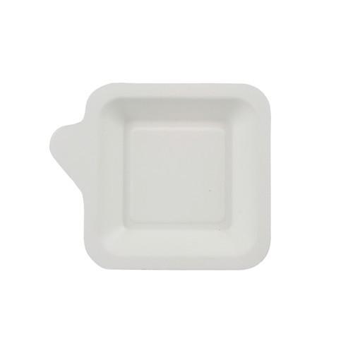 """50 Fingerfood - Teller, Zuckerrohr """"pure"""" eckig 11,3 cm x 11,3 cm weiss mit Anfasser"""