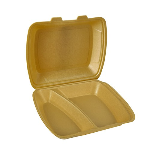 100 Menüboxen mit Klappdeckel, XPS 2-geteilt 7,5 cm x 24,3 cm x 20,8 cm gold