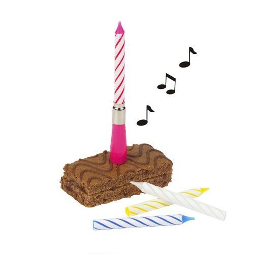 "Musikkerze 12 cm farbig sortiert ""Happy Birthday"" mit 3 Ersatzkerzen"