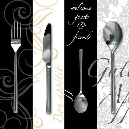 """20 Servietten, 3-lagig """"Design Edition"""" 1/4-Falz 33 cm x 33 cm """"Enjoy your Meal"""""""