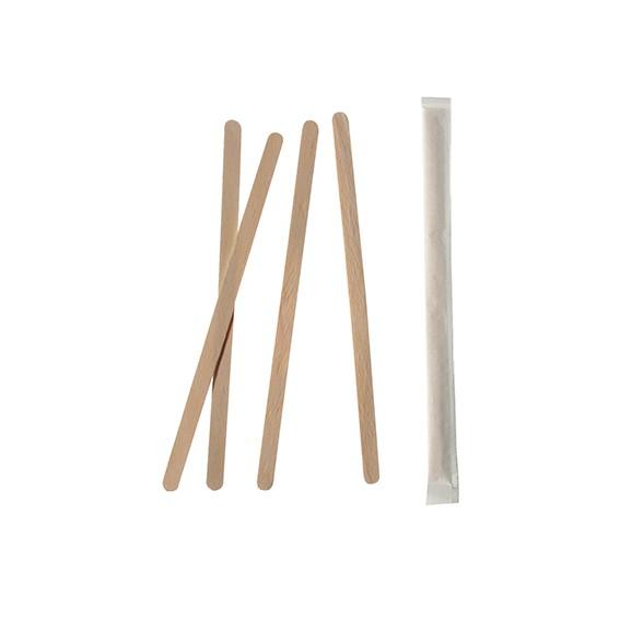 """1000 Rührstäbchen, Holz """"pure"""" 11 cm x 5 mm einzeln gehüllt"""