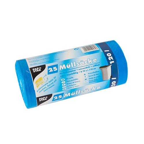 25 Müllsäcke, HDPE 120 l 110 cm x 70 cm blau