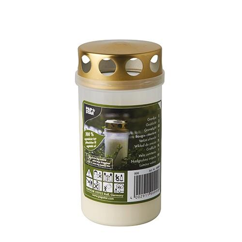 Öl-Licht T3, 100 % Pflanzenfett Ø 6,5 cm · 12,5 cm weiss transparente Hülle, mit Golddeckel