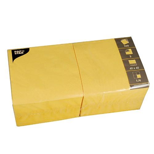 250 Servietten, 3-lagig 1/4-Falz 40 cm x 40 cm gelb