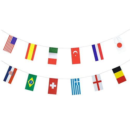 """Flaggenkette, Papier 10 m """"32 Nations"""" schwer entflammbar"""
