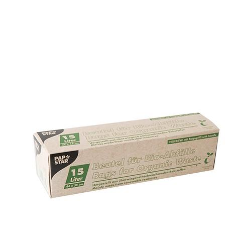 15 Kompostbeutel, Bio-Folie 15 l 44 cm x 55 cm grün mit Tragegriff