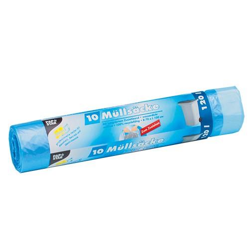 10 Müllsäcke zum Zuziehen, HDPE 120 l 100 cm x 70 cm blau