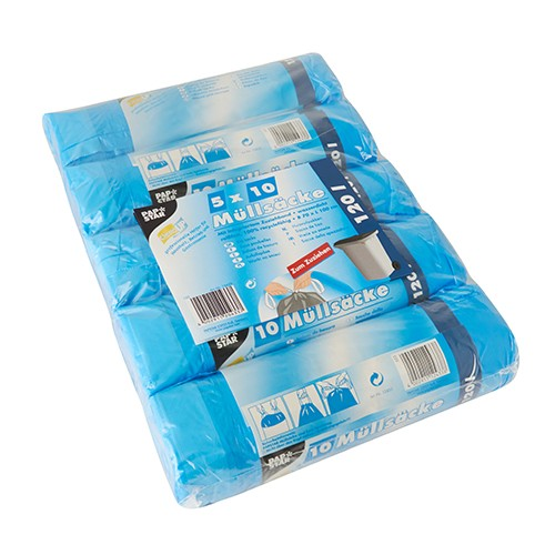 50 Müllsäcke mit Zugband, HDPE 120 l 100 cm x 70 cm blau